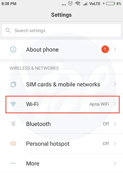 Click on wifi