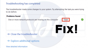 Fix: One Or More Network Protocols Are Missing On This Computer