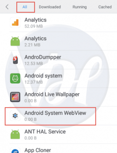 Android System Webview : Install | Uninstall | Enable | Disable