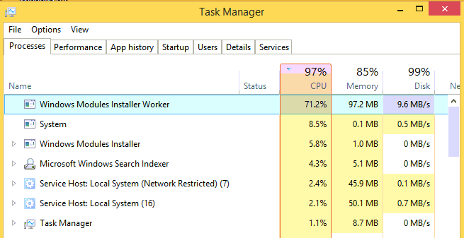 Windows Modules Installer Worker High Disk Usage