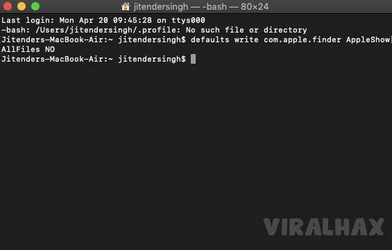 defaults write com.apple.finder AppleShowAllFiles NO