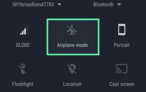 Airplane mode in quick settings