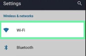 WiFi option in settings