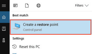 create a restore point option
