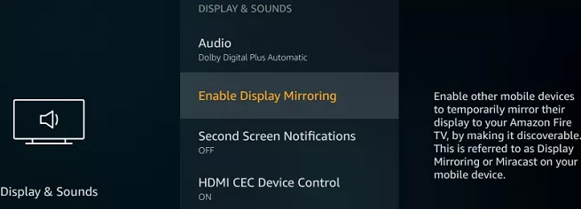 Enable Display Mirroring
