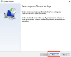 Tap next for Restore System files and settings