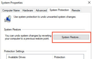 System Restore option in System properties