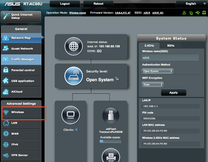 Wireless Panel from Asus admin panel