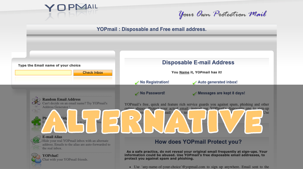 YOPMail Alternatives