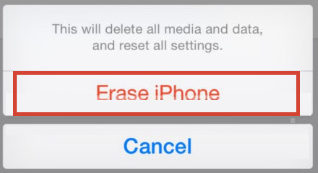 Erase iPhone option to confirm soft reset