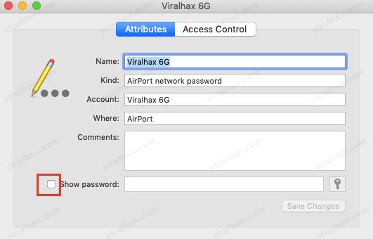 Checkbox the Show Password option