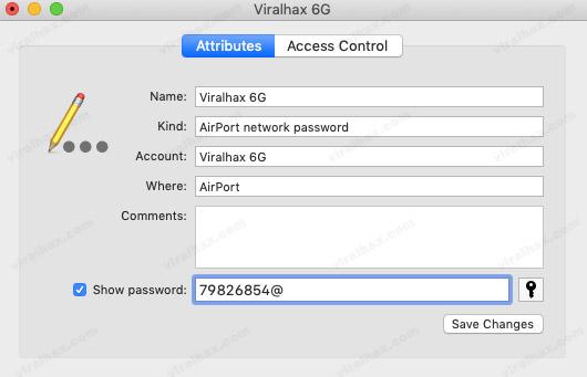 Keychain Access shows WiFi Password