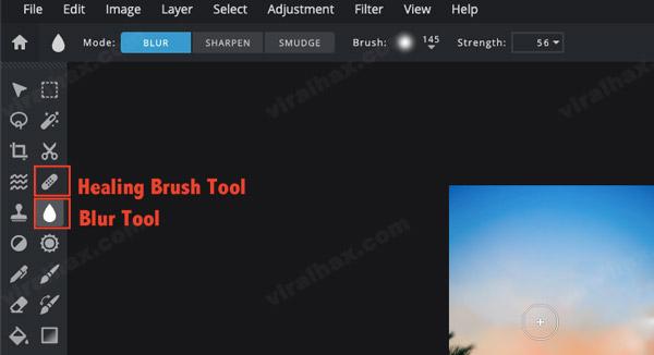 Healing Brush tool and Blur Tool in PIXLR