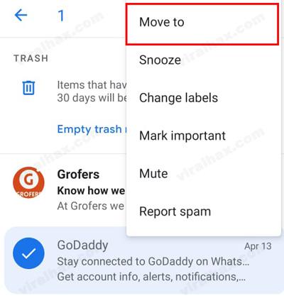 pindah ke opsi untuk mengembalikan dan memindahkan email