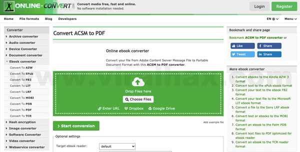 choose file to convert acsm file to pdf online