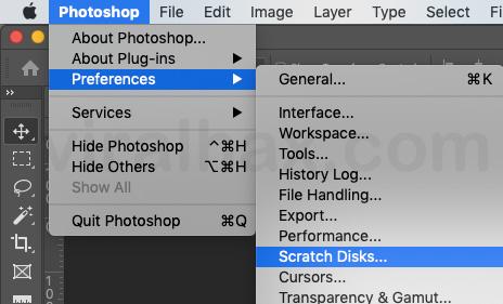 photoshop > preferences > scratch disks