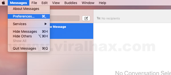 Preferences option of Messages App